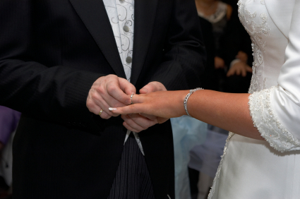 bride and groom exchange wedding rings